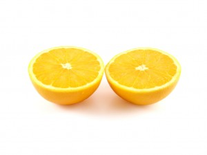 orange cut into two halves